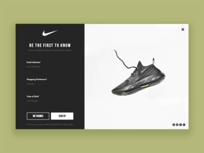 Daily UI #016 - Popup modern minimal shoe user interface design challenge designer ux design popup sports nike ui designer dailyui