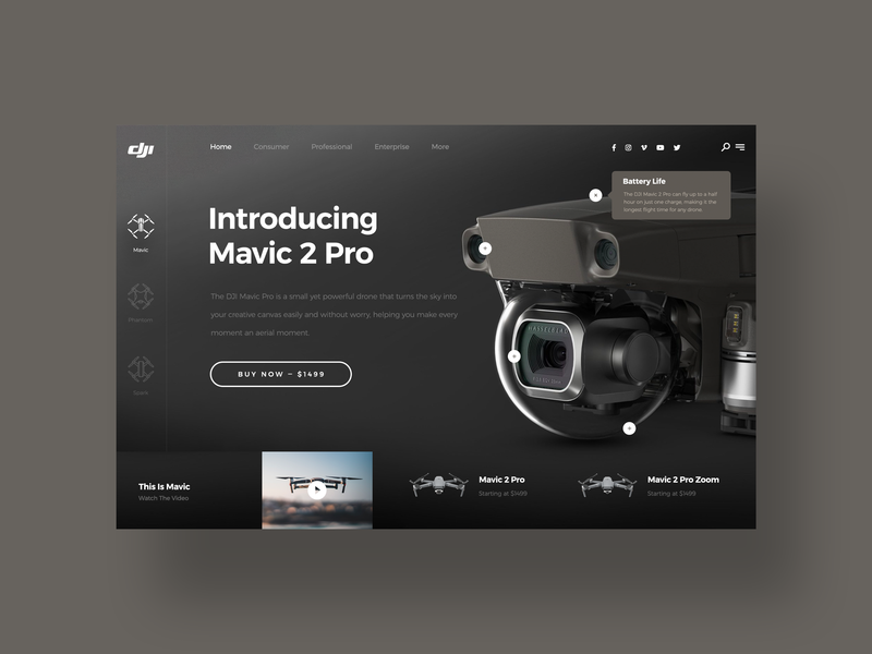 DJI Mavic 2 Pro UI design challenge ui designer design social media daily ui clean web design simple ui dji mavic drone dji minimal ux design modern user interface dailyui ui design