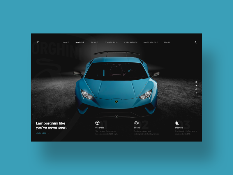 Lamborghini UI sports car luxury design challenge social media clean web design ui ui designer simple minimal ux design modern user interface dailyui ui design lamborghini