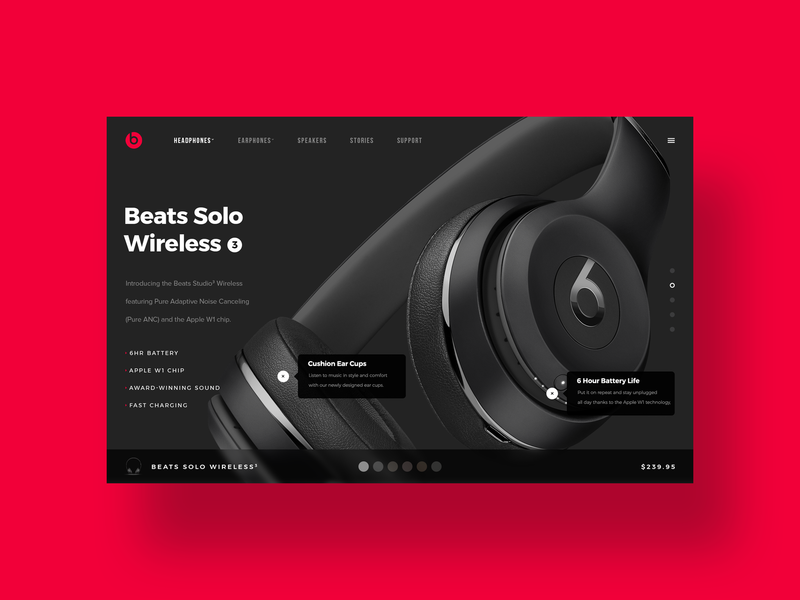 Beats UI ui designer simple illustration ui design challenge minimal ux design modern web design user interface dailyui ui design beats by dre beats