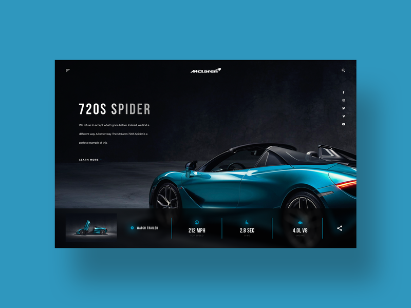 McLaren 720S Spider 720s spider sports car simple clean daily ui design web design ui designer ui minimal ux design modern user interface dailyui ui design car mclaren