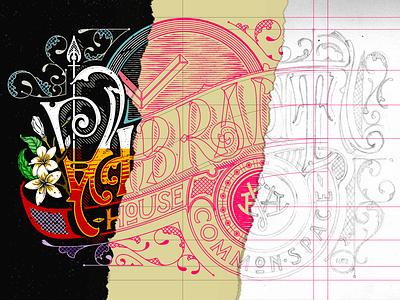 Victorian Lettering Process - Vibrant House vintage logo vibrant illustration design victorian typography shaltype ligature lettering