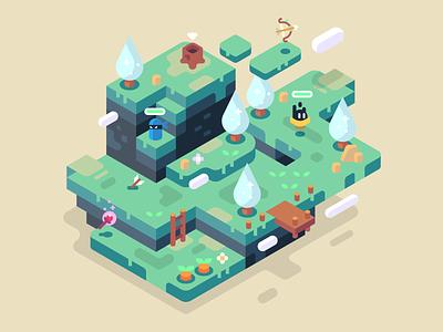 Flourishing fantasy items battle enemies clouds green trees isometric video games landscape nature illustrator vector design illustration flourish