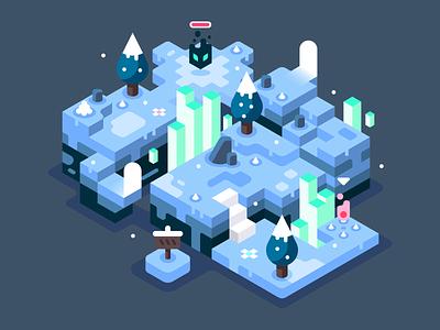 Mystic blue battle ice snow isometric video games landscape nature illustrator vector design illustration