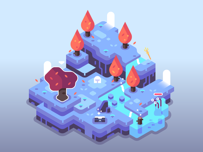 Treasure Chest in a Forest 2.0 fantasy level trident monster waterfall water trees games isometric video games landscape nature illustrator vector design illustration
