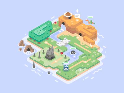 Mini World dragon cave field mountain forest desert adventure level world isometric video games landscape nature illustrator vector design illustration