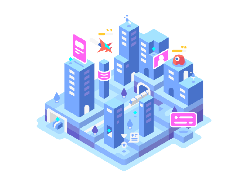 Cityscape blue games video games city isometric landscape illustrator vector design illustration