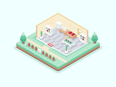 Prof. Oaks Lab vector nintendo pallet town video games isometric landscape oaks lab pokemon illustration