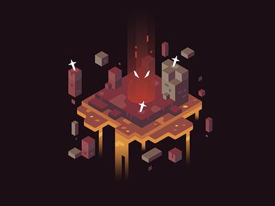 Evil Stirs fire dark lava isometric illustrator vector design illustration landscape evil darkness