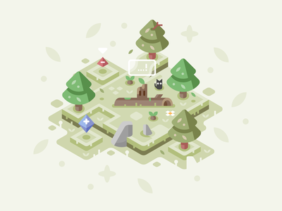 Tree Spirit's Game game green trees video games isometric landscape nature illustrator vector design illustration forest spirit