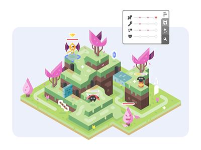 Rolling Hills nature battle monsters games isometric stats landscape vector design illustration