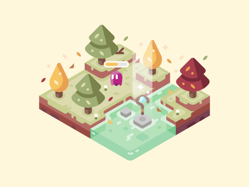 Autumn creep wizard staff trees games isometric landscape nature design illustration autumn leaves water fall