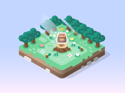 Ready for Adventure! games item chest flowers stump trees isometric nature landscape design illustration backpack