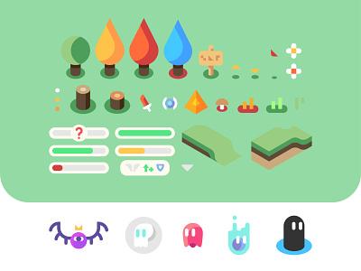 Sprites games vector trees video games sprite isometric nature landscape design sprite sheet sprites