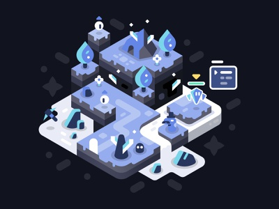 Strange Cave monsters crystals level design video game isometric vector illustration landscape