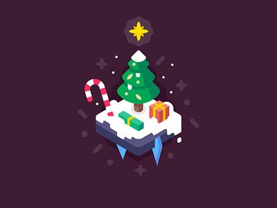 Merry Christmas christmas tree candy cane winter season holiday snow christmas presents isometric landscape design illustration