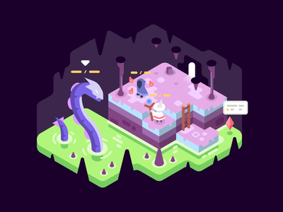 Boss Fight games adventure battle magic lake acid video games isometric landscape illustration