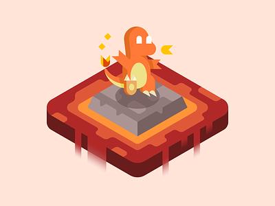 Charmander starter pokemon landscape illustration lava fire pokémon charmander