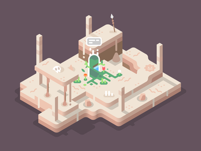 Lost Door nature landscape isometric illustration sand battle bones skull forest desert wasteland gateway portal
