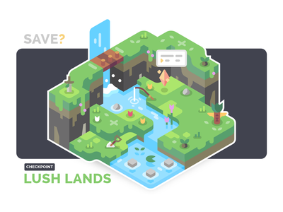 Checkpoint: Lush Lands save point landscape environment nature green waterfall illustration isometric game adventure