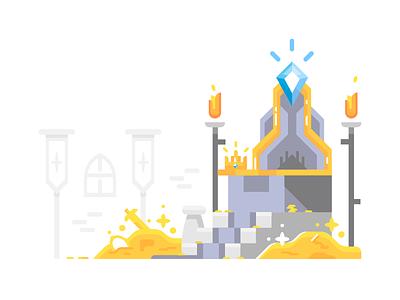 Throne medieval illustration gold throne
