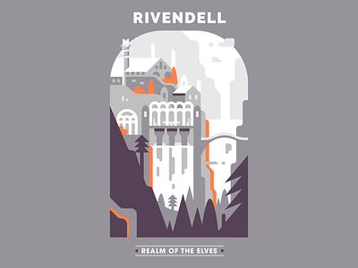 Rivendell fantasy landscape rivendell elves the lord of the rings illustrator vector design illustration