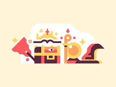 Magic Items book chest crystal ball wand staff illustrator vector design illustration magic