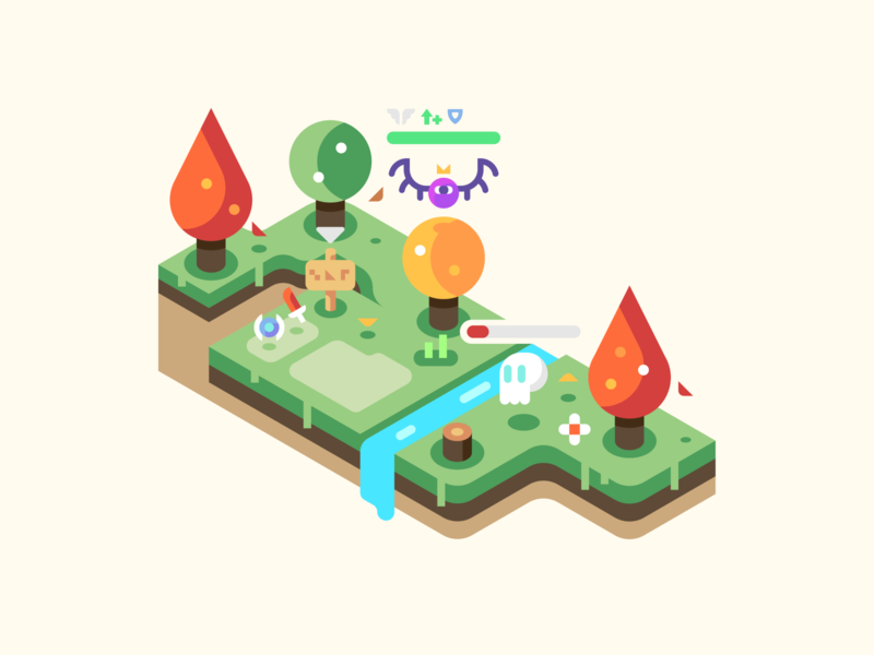 Creeps and Items october fall video games monsters forest isometric illustration isometric landscape nature illustrator vector design illustration items