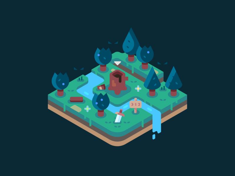 Dark Forest isometric illustration isometric shield sword video games landscape nature illustrator vector design illustration forest woods