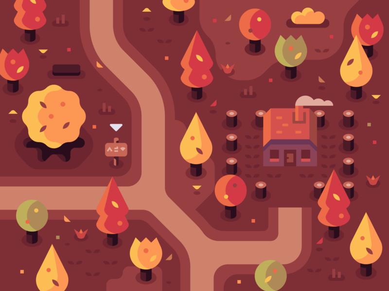 Autumn Home house fall autumn home isometric games landscape nature illustrator vector design illustration