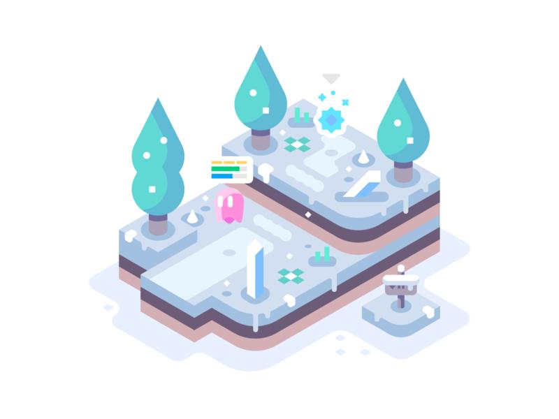 Ice Region cold ice health bar isometric games video games landscape simple nature illustrator vector design illustration snow