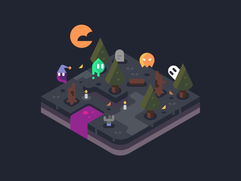 Spooky Creeps zombie grave sprite ghost trees isometric games landscape nature illustrator vector design illustration halloween design