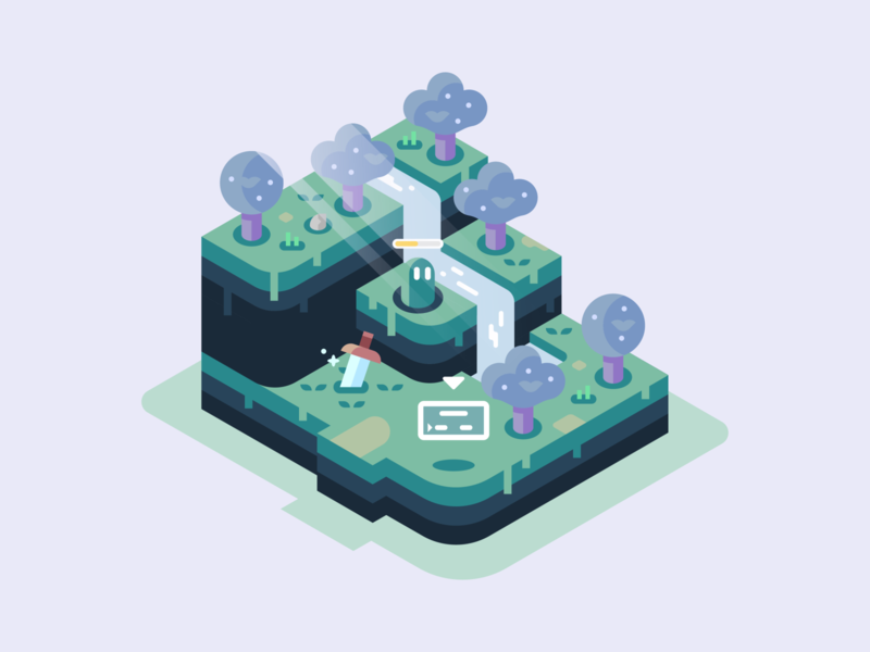 Save Point fantasy waterfall trees green isometric video games landscape nature illustrator vector design illustration save point
