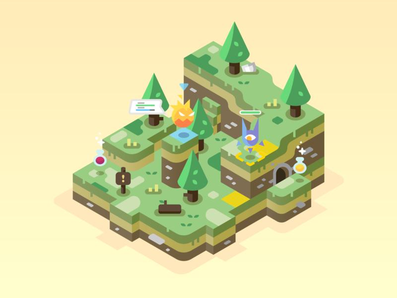Highlands monsters trees green isometric games video games landscape nature illustrator vector design illustration highlands