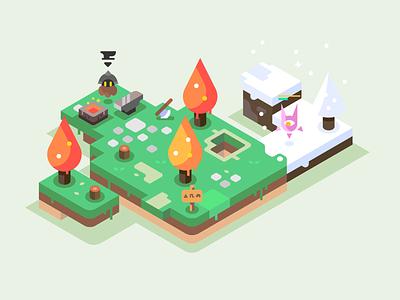 Blacksmith forge hp monster axe winter anvil trees games isometric landscape nature illustrator vector illustration design dwarf