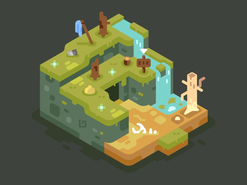 Ominous Place boss danger death games isometric video games landscape simple nature illustrator vector design illustration