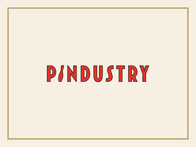 Pindustry logo concept bowling pin typogaphy branding logo