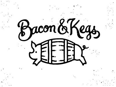 Bacon and Kegs Logo bacon kegs pig illustration logo script ampersand