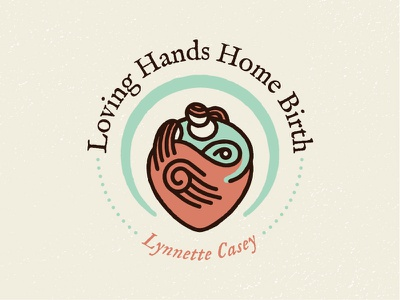 Home Birth Logo loving hands heart midwife logo healing hand pink green line art stroke baby