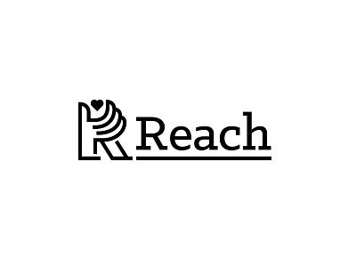 Reach Logo hidden logomark line mono-weight underline slab serif grabbing heart hand reach