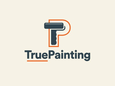 True Painting Logo Concept Color navy orange roundy stroke lines paint roller painting