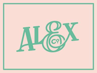 Alex & Co pale pink mint ampersand slab serif design branding typography logo