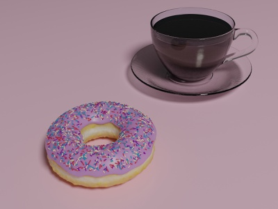 Donut and coffee 3d modeling