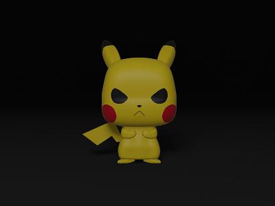 Grumpy Pikachu blender 3d modeling