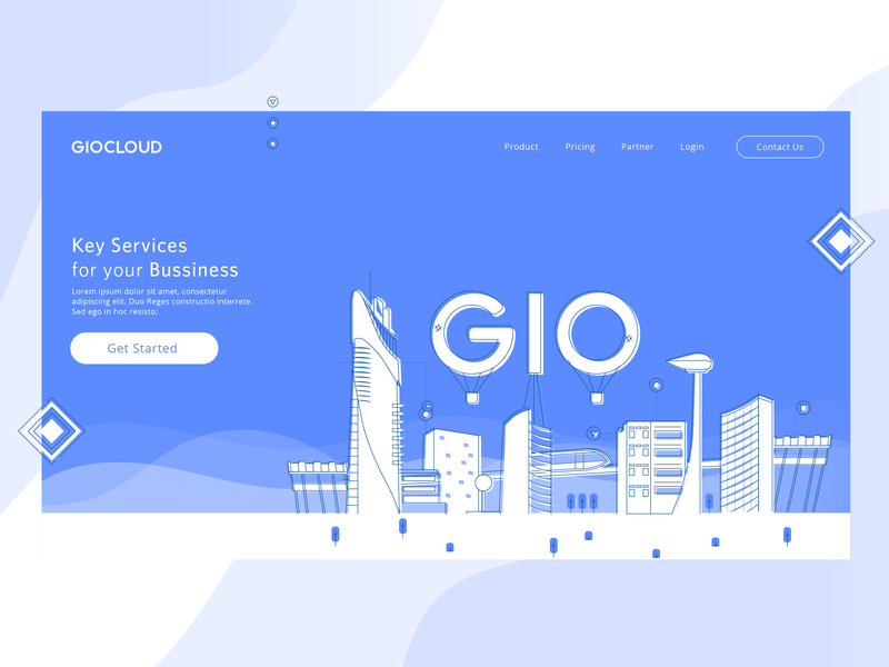 GIOCLOUD Hero gio hero banner blue server apps enterprise landing page hero illustration cloud computing
