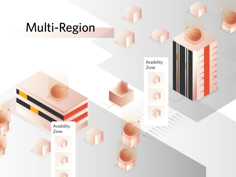 Multi Region cloud hosting design ui cloud computing apps icon network datacenter region multi multiregion illustration data cloud server