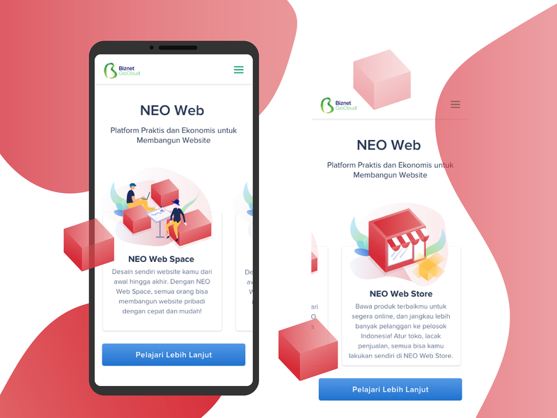 Neo Web Products red apps uidesign mobile responsive space store product web