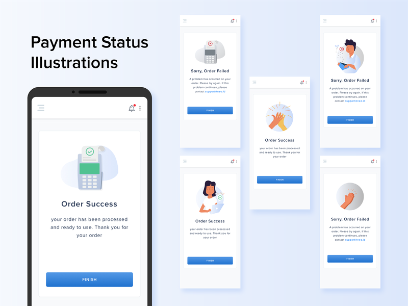 Simple Payment Illustration failed success blue ui illustration icon design status apps design apps uidesign ui-ux payment