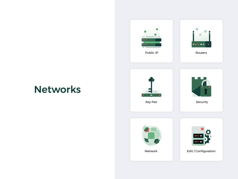 Networks green network apps illustration icon design ui