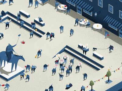 Town Square editorial illustration editorial blue isometric illustration isometric debate discussion freedom of speech technology town square first amendment knights irst amendment institute